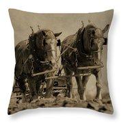Draft Horses Throw Pillow