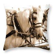 Draft Horses Enjoy A Day In Old Sacramento Throw Pillow