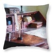 Draftsman - Cartographer's Desk Throw Pillow by Susan Savad