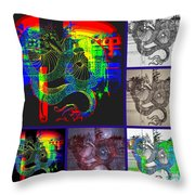 Dragon Collage Throw Pillow