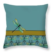 Dragon Fly Nouveau Throw Pillow by Jenny Armitage