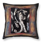 Dragon Lion Repousse And Chasing By Alfredo Garcia Art - Original Mixed Media Modern Abstract Painti Throw Pillow