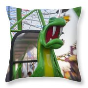Roar Too The Green Dragon Ride Throw Pillow