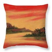Dragon Sunset Throw Pillow