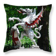 Dragon With St George Shield Throw Pillow