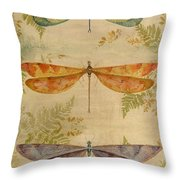 Dragonflies Among The Ferns-12415 Throw Pillow
