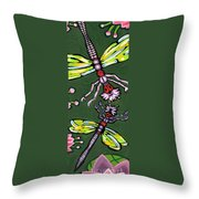 Dragonflies And Water Lilies Throw Pillow