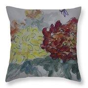 Dragonfly Among Chrysanthemums Throw Pillow