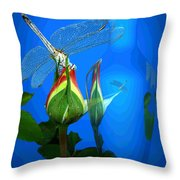 Dragonfly And Bud On Blue Throw Pillow