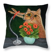 Dragonfly And Cat Throw Pillow