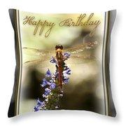 Dragonfly Birthday Card Throw Pillow by Carolyn Marshall