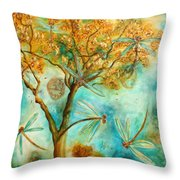 Dragonfly Flirtation Throw Pillow