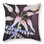 Dragonfly Flying By The Moon Throw Pillow