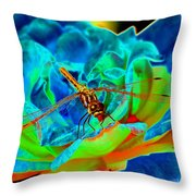 Dragonfly On A Cosmic Rose Throw Pillow