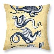 Dragons - Historiae Naturalis  - 1657 - Vintage Throw Pillow