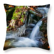 Dragons Teeth Icicles Waterfall Great Smoky Mountains Painted  Throw Pillow