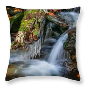 Dragons Teeth Icicles Waterfall Great Smoky Mountains  Throw Pillow