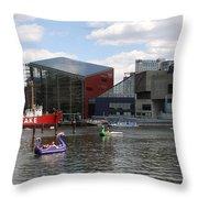 Dragoon Boats - Baltimore Inner Harbor Throw Pillow