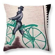 Draisienne 1809 Vintage Postage Stamp Print Throw Pillow