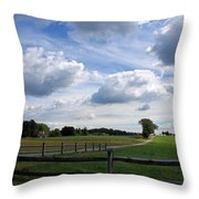 Dramatic Blustery Sky Over The Hayfield Throw Pillow
