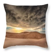 Dramatic Clouds Over The Sand Dunes Throw Pillow