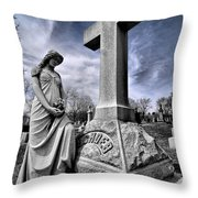 Dramatic Gravestone With Cross And Guardian Angel Throw Pillow