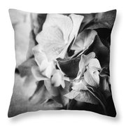 Dramatic Hydrangea In Black And White Throw Pillow