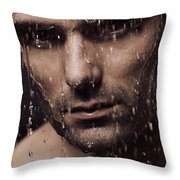 Dramatic Portrait Of Man Face With Water Pouring Over It Throw Pillow