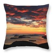 Dramatic Sunset Over Dubrovnik Croatia Throw Pillow