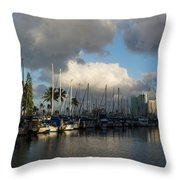Dramatic Tropical Storm Light Over Honolulu Hawaii  Throw Pillow