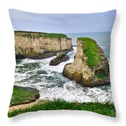 Dramatic View Of Shark Fin Cove In Santa Cruz California. Throw Pillow