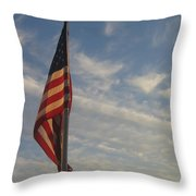Draped American Flag Pole Dusk  Casa Grande Arizona 2004 Throw Pillow