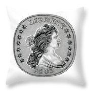 Draped Bust Liberty Throw Pillow