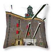 Drawbridge And Tower In Enkhuizen-netherlands Throw Pillow