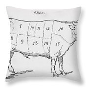 Drawing Of A Bullock Marked To Show Eighteen Different Cuts Of Meat Throw Pillow by English School