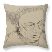 Drawing Of A Woman Throw Pillow