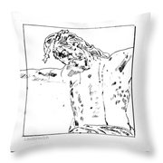Drawing Of Christ On The Cross Throw Pillow