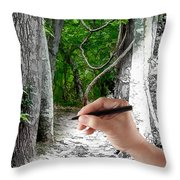 Drawn To The Woods With Imagination Throw Pillow