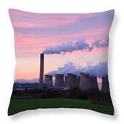 Drax Power Station At Sunset Throw Pillow