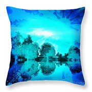 Dream Blue Landscape With Kaleidoscopic Blue Sun Throw Pillow