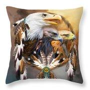 Dream Catcher - Three Eagles Throw Pillow