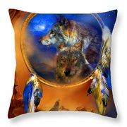 Dream Catcher - Wolf Dreams Throw Pillow