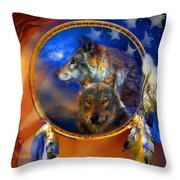 Dream Catcher - Wolf Dreams Patriotic Throw Pillow