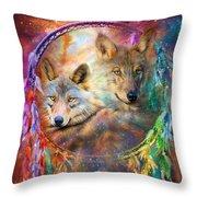 Dream Catcher - Wolf Spirits Throw Pillow