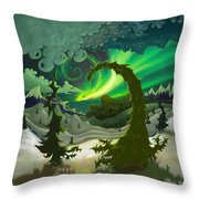 Dream Landscapes Aurora Green Throw Pillow
