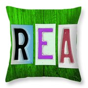 Dream License Plate Letter Vintage Phrase Artwork On Green Throw Pillow