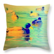 Ducks Dreaming Of Dreaming Ducks  Throw Pillow