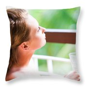 Dreaming Throw Pillow by Jenny Rainbow