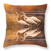 Dreaming Of Egrets By The Sea Reflection Throw Pillow