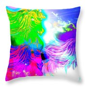 Dreaming Of Rainbow Horses Throw Pillow
